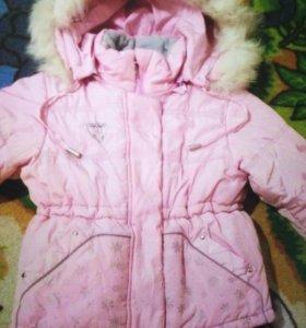 Зимняя теплая куртка с натур. мехом