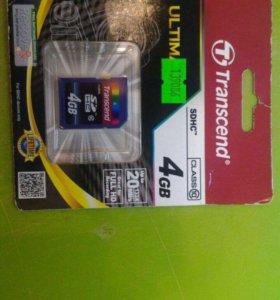 Transcend sdhc Class 10 4Gb карта памяти новая