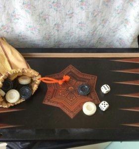 набор фишек и костей для нард