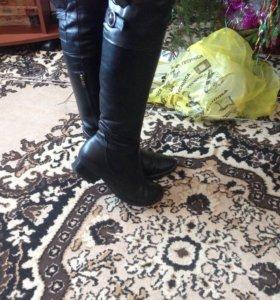 Сапоги кожаные , натуральный мех