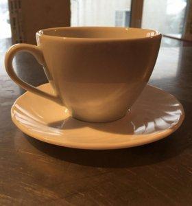 Чайная пара(блюдце+чашка)200мл,белая
