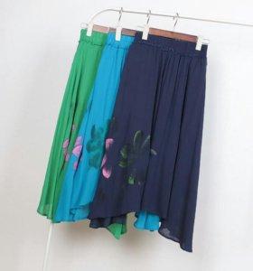 Хлопковая юбка с лотосами.