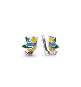 Детские серебряные серьги Птички