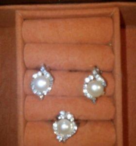 Комплект серьги и кольцо серебро с жемчугом