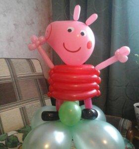 Свинка из шаров. Гелиевые шары