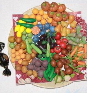 Овощи и фрукты из полимерной глины