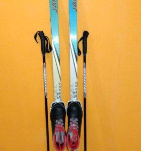 Лыжи, ботинки лыжные, палки лыжные