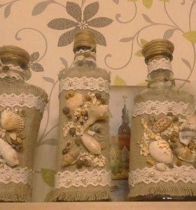 Интерьерные бутылки в морском стиле