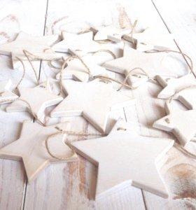 Гирлянда из деревянных звёздочек