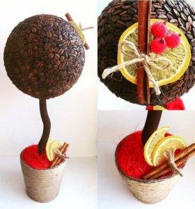 Кофейное дерево, топиарий, подарок, кофе