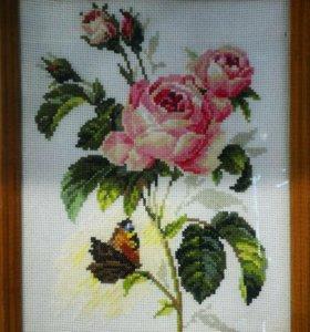 """Вышивка крестом """"Роза и бабочка""""."""