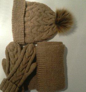 Набор шапка ,шарф, варежки