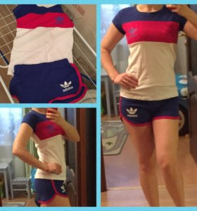 Спортивный костюм Адидас с шортами новый размер 42