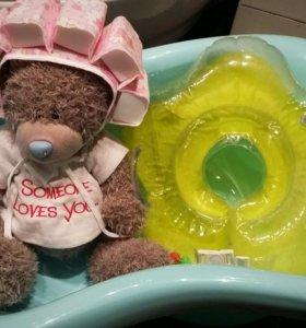 Ванночка + чепчик и стульчик для купания