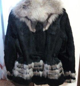 Шуба из кролика воротник чернобурка