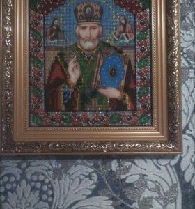 Икона вышитая чешским бисером. Николай Чудотворец