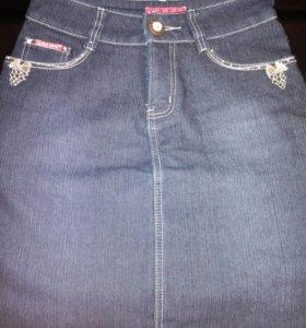 Юбка джинсовая, теплая.