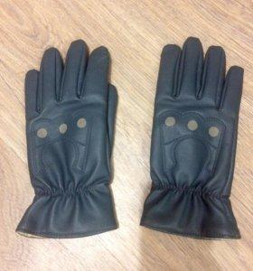 Перчатки кожаные тёплые