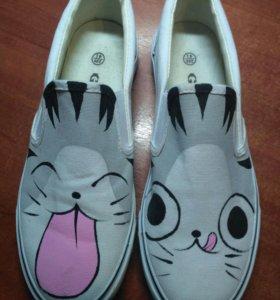 Ботинки Кроссовки Кеды с рисунком (котик)