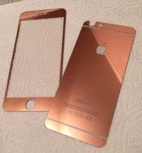 Зеркальное стекло на 6 айфон розовое золото