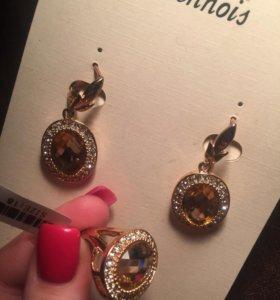 Серьги и кольцо бижутерия