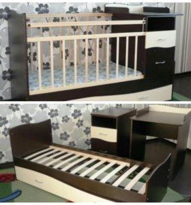 детская кровать+2 ортопедических матраса#10,000#во