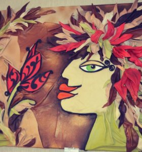 "Картина из кожи ""тропиканка"""
