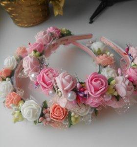 Нежный розовый ободок