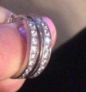 Серьги-кольца, серебро 925 пробы