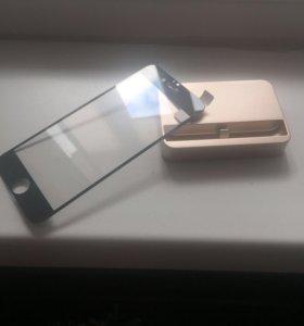 док станция и защитное стекло для айфон 6 6s