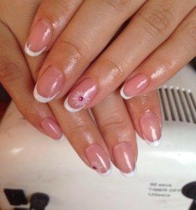 Маникюр покрытие ногтей гель лаком наращивание