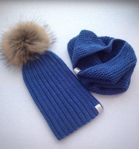 Вязаный комплект для мальчика шапка+ снуд