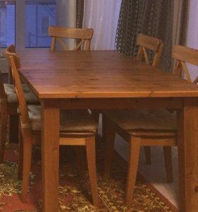 Раздвижной стол с 6 стульями вместимость до 10-12