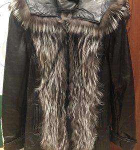 Пальто (жилет), кожа+чернобурка