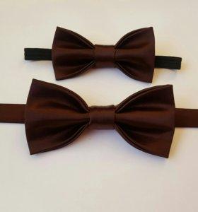 Коричневые атласные бабочки-галстуки