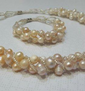 Ожерелье и браслет из натурального жемчуга