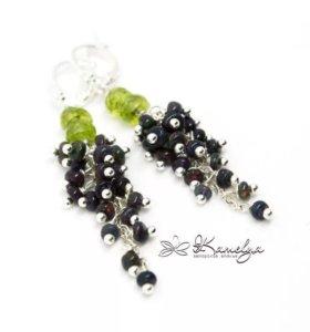 Серьги грозди. Чёрный опал и хризолит. Серебро 925
