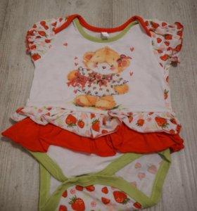 Новые 2 шт Боди-платье для малышки ☝️↩ 62-68 р.