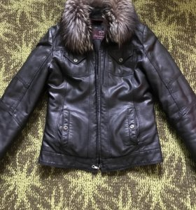 Кожаная куртка тёплая