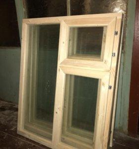 Окно деревянное 80х100 / 2 стекла + фурнитура