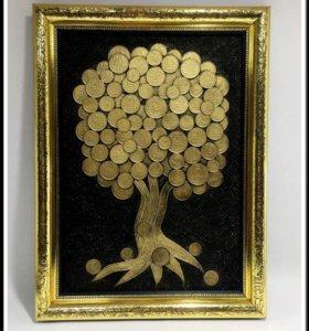 Картина денежное дерево из монет СССР