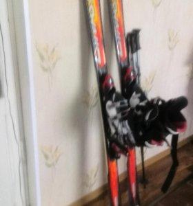 Горные лыжи с ботинками и палками 42 размер
