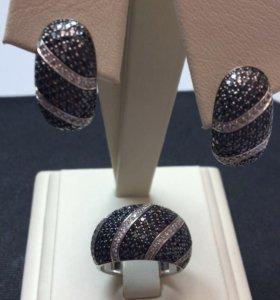 Комплект кольцо и серьги с бриллиантами