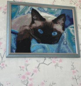 Картина кошка. Алмазная вышивка. Ручная работа.