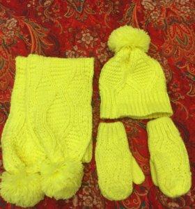 Шапка+ шарф+ варежки