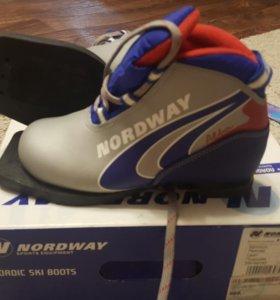 Ботинки лыжные, лыжи с креплением, палки.