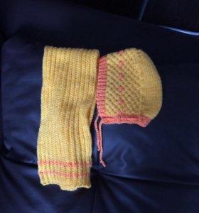 Вязаный чепчик и шарфик на малыша