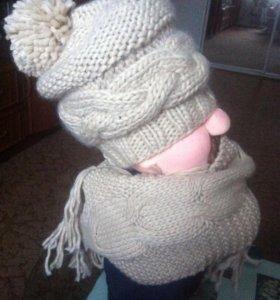 Шапка+шарф акрил