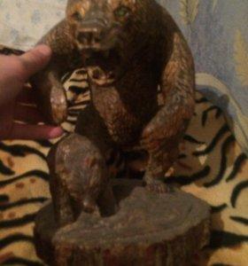 Самодельный, деревянные медведи