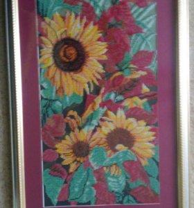 """Картина""""Цветы""""вышивка бисером."""